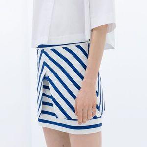 Zara Skirts - Zara // Blue Striped Skirt