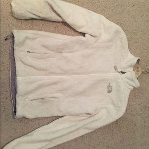 Women's White Fur North Face Jacket