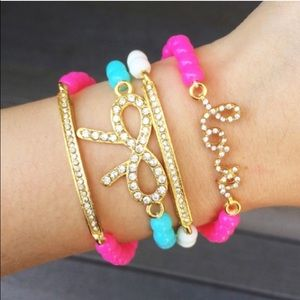T&J Designs Jewelry - Pavé bow, love and bar beaded bracelet set