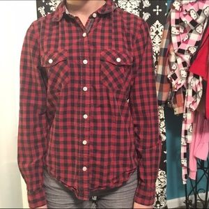 Red plaid button down from forever21