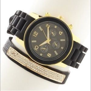 T&J Designs Accessories - Black watch and pavé faux leather bracelet set