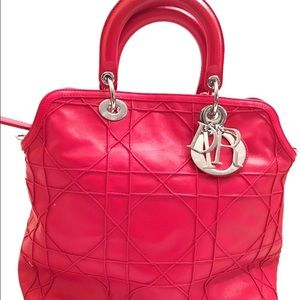Christian Dior Rouge cannage leatherGranville tote