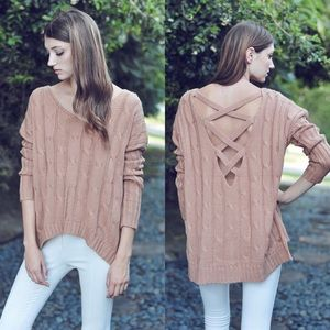 """Casanova"" Cut Out Crossback Sweater Top"