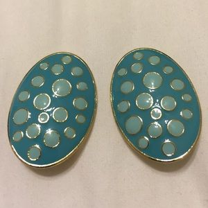 Large Oval Blue and Gold Clip On Style Earrings