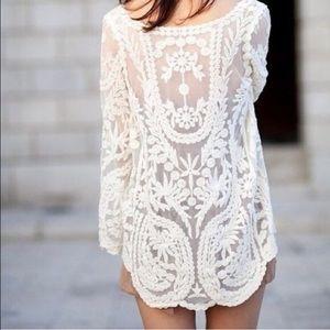 Tops - White Sheer Crochet Long Sleeve Top