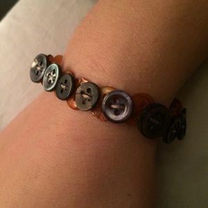 Blue and gold button bracelet