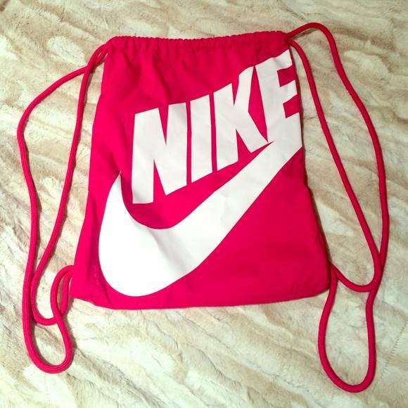 Nike - Hot pink & white Nike drawstring bag! from Logan's closet ...
