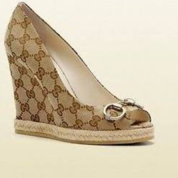 f2b5c8ab8 Gucci Shoes | Charlotte Canvas Wedges Sz 75 | Poshmark