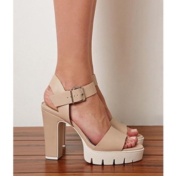 ff9880e9b8 Forever 21 Shoes - Forever 21 Lug Sole Platform Sandals in Nude