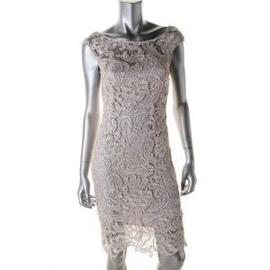 ALYTHEA Beige Lace Sleeveless Party Cocktail Dress