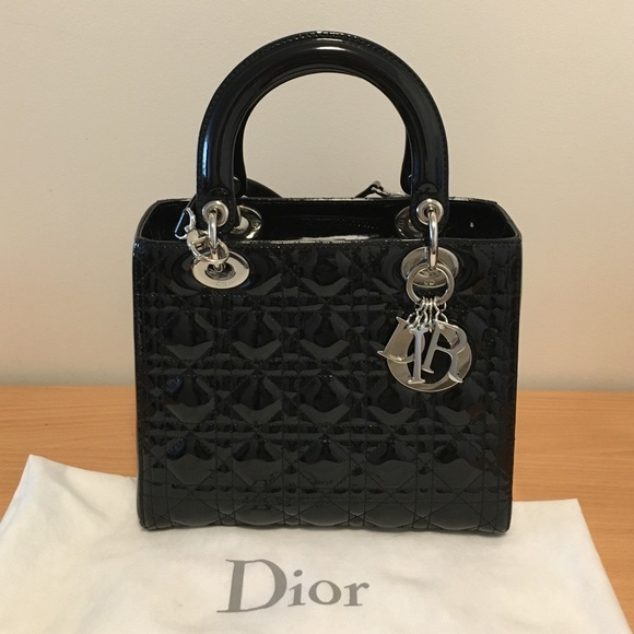 1cc3eeb1773 Dior Bags   Black Patent Lady Medium   Poshmark