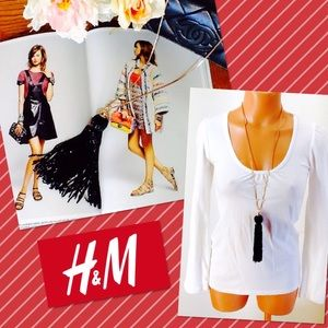 H&M Tassel Necklace. Long Gold Chain.