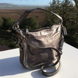 Coach Zoe F14707 Pewter Silver Shoulder Bag