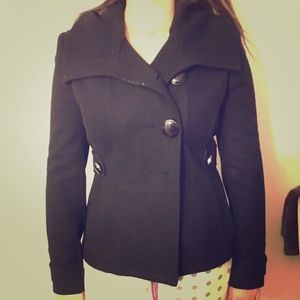 Black wool peacoat with large buttons