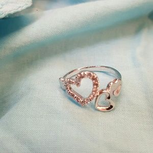 Jewelry - Sterling Silver Heart and CZ Ring Sz 7
