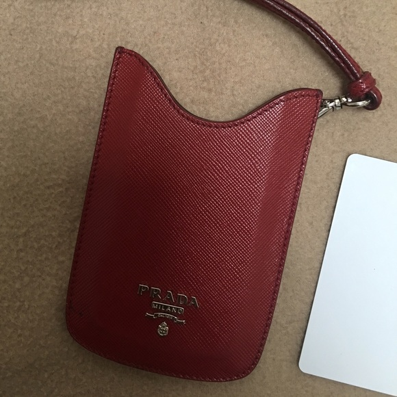 22569c57c8ef Prada Accessories | Saffiano Red Card Phone Case Wristlet | Poshmark