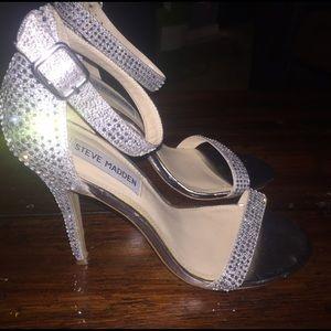 8dbb576c736 Steve Madden Shoes - Steve Madden Realov R Silver Rhinestone Heels