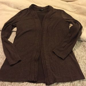 Open front brown cardigan
