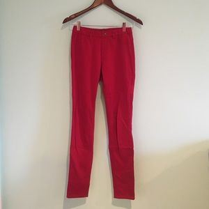 Red Uniqlo jeggings