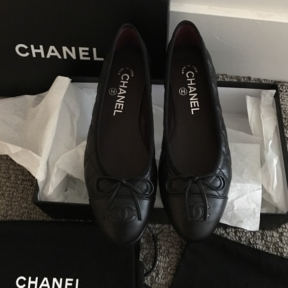 e7d4a2b5cfdb CHANEL Shoes | Black Leather Quilted Ballerina Flats | Poshmark