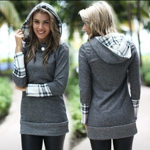 ❤Cozy Chic Grey Plaid Hooded Tunic❤️