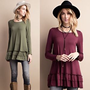 LIZBETH ruffle long sleeve top - OLIVE