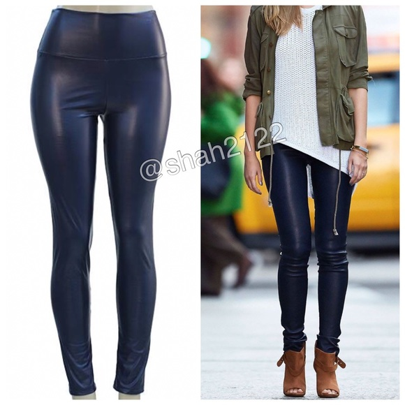 10afe85d364cd BOUTIQUE Pants | Sexy Faux Leather Leggings High Waist Navy Blue ...