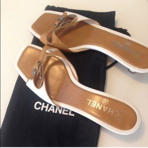 SALE!! Authentic Chanel Camellia Slip On Sandals.