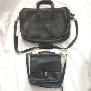 2 vintage Coach briefcase & shoulder bags lot
