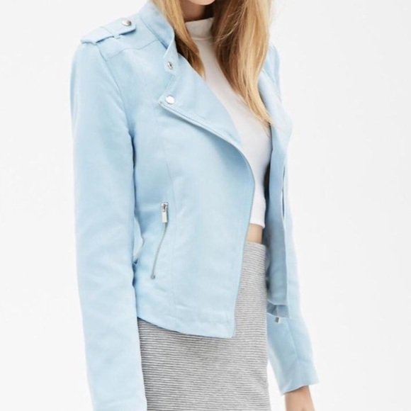 eac4b24aaf222 Forever 21 Jackets   Blazers - Forever 21 Baby Blue Suede Moto Jacket