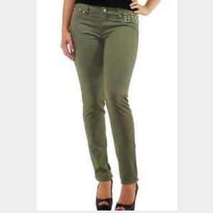 Tinseltown Denim - NWT Olive Green Skinny Jeans with stud detail
