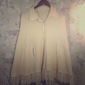 Vintage 1970s, cream, fringed sweater poncho.