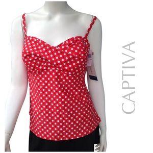 Captiva Other - NEW CAPTIVA tankini swim top red polka dot suit 1x