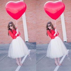 Gorgeous White Tutu Tulle Midi Skirt