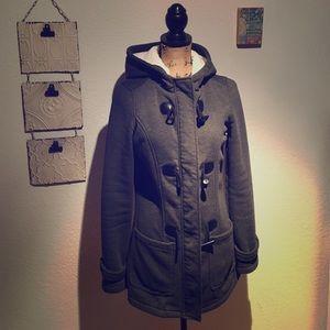 Jackets & Blazers - Grey hooded coat