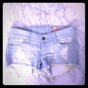 Siwy Pants - Siwy Madeline light blue denim cutoff shorts