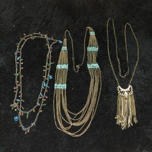 Three long statement necklaces