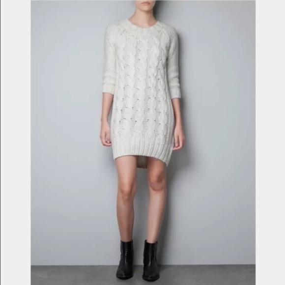 916517238c Zara Cable Knit Sweater Dress. M 5699d0b14127d0b93e010e41