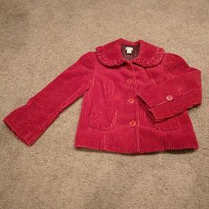 Elevenses Raspberry Tinged Corduroy Jacket Size 8