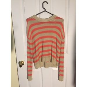 Forever 21 Peach and Cream Striped Sweater Size Sm