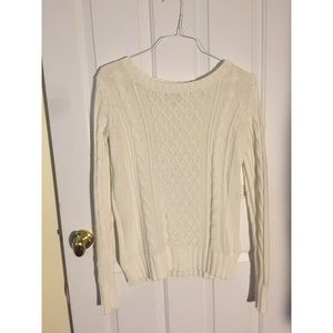 Old Navy White Cable Knit Sweater Size Small