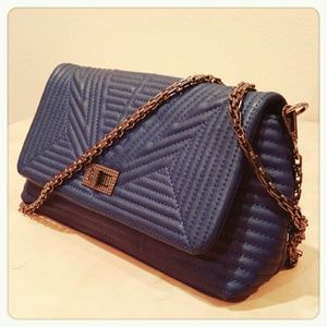 Handbags - Royal Blue Gunmetal Chain Purse