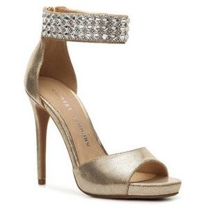 NEW Chinese Laundry Gold Ankle Strap Heels