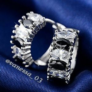 Jewelry - Black & Clear Marquise Huggie Earrings