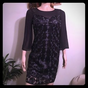 Muse Dresses & Skirts - 🌹NWT MUSE SHEER BELL SLEEVE TEXTURE BLACK DRESS 4