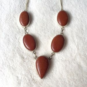 Jewelry - Stunning goldstone and silver necklace