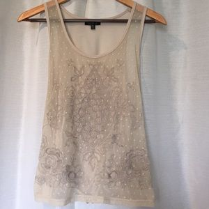 Topshop Mesh Tank Embroidered Top