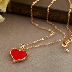 Jewelry - Unique gold plated RED heart pendant on long chain