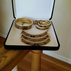 Faux Snakeskin Necklace, Bracelet and Earrings Set