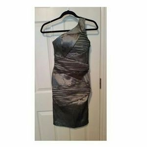 NWOT Charcoal/ Gray One Shoulder Cocktail Dress